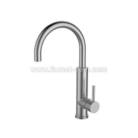 Modern stainless steel single hole kitchen faucet