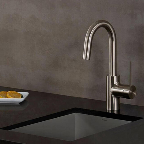 Single-Handle Brushed Stainless Steel Kitchen Faucet