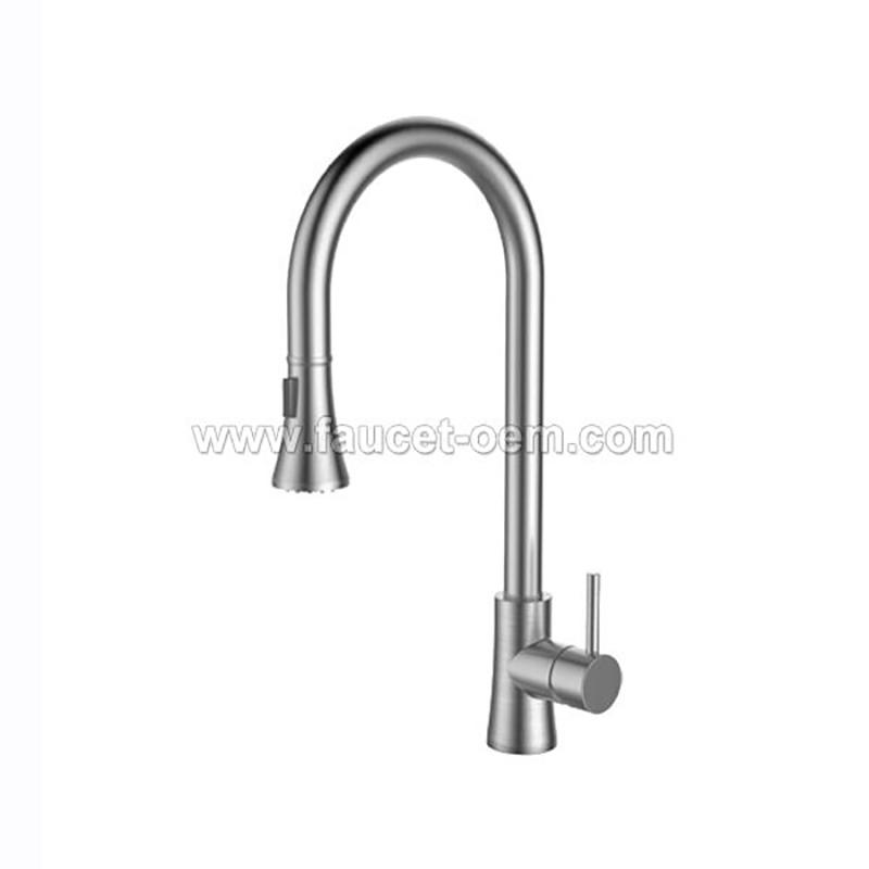Single hole kitchen sink faucet pull down