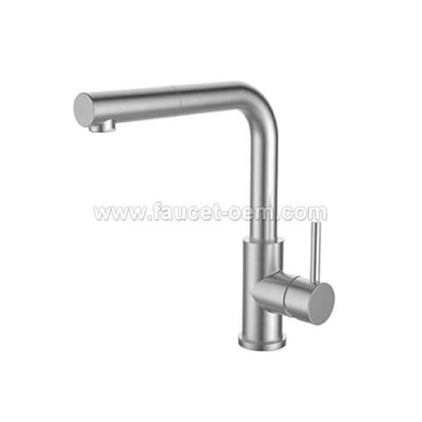 Stainless pull-down kitchen faucet