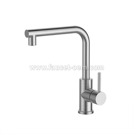 Stainless steel one hole kitchen faucet
